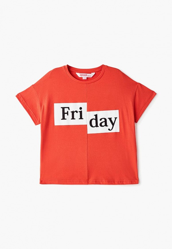 футболка с коротким рукавом modis для девочки, красная