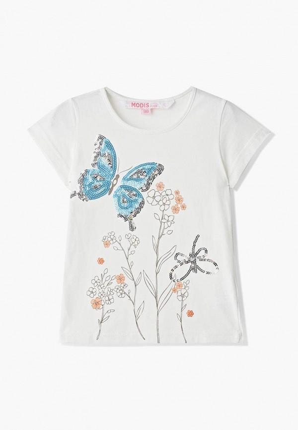футболка с коротким рукавом modis для девочки, белая
