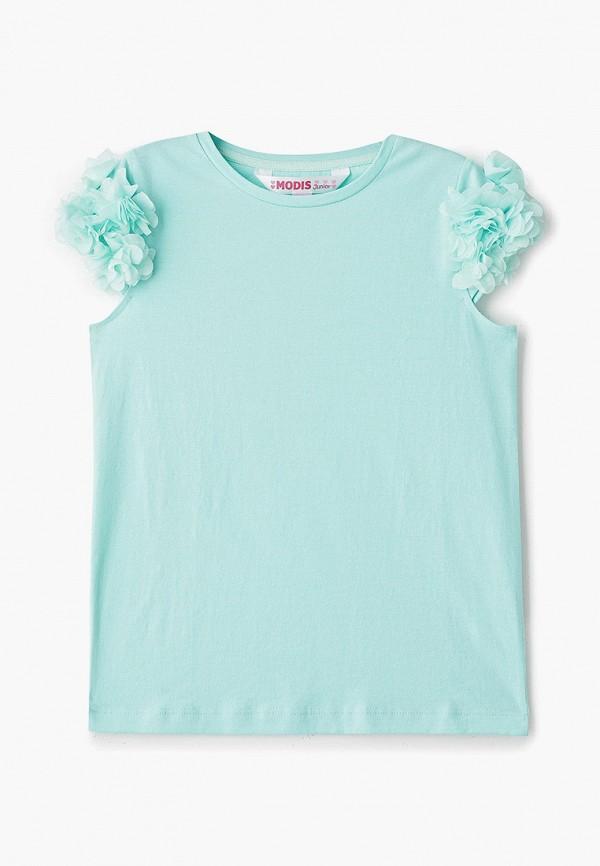 футболка с коротким рукавом modis для девочки, бирюзовая