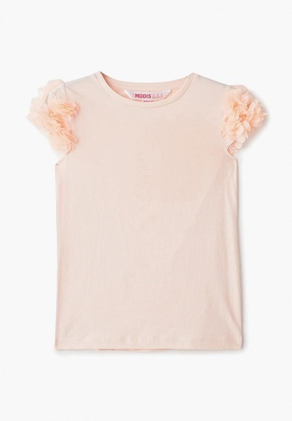 футболка с коротким рукавом modis для девочки, розовая