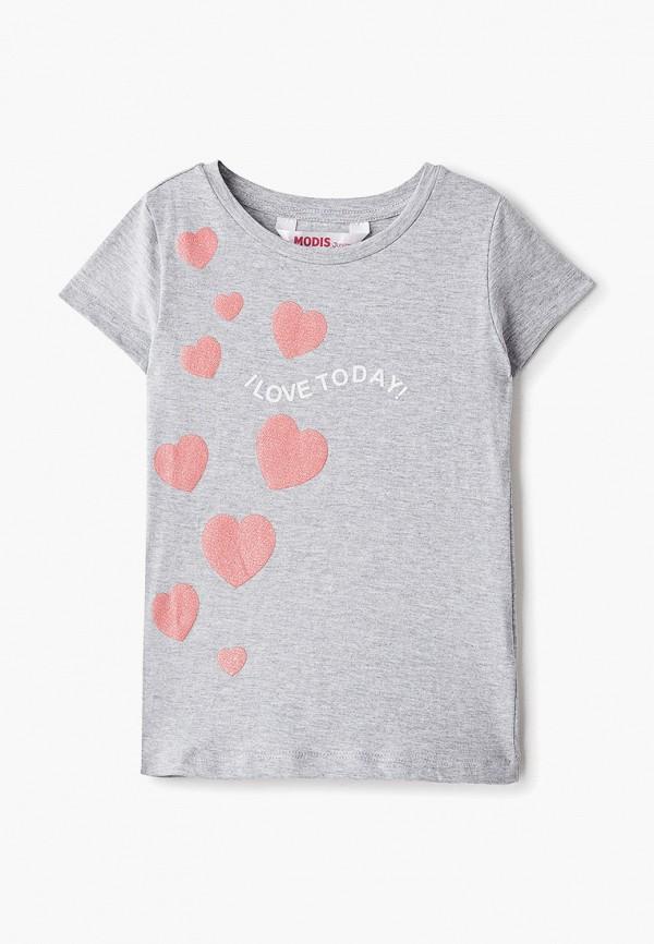 футболка с коротким рукавом modis для девочки, серебряная