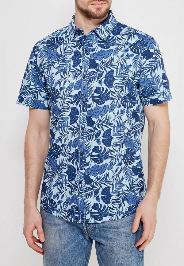 мужская рубашка с коротким рукавом modis, голубая