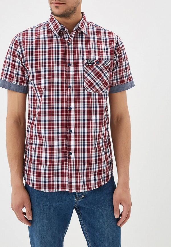 мужская рубашка с коротким рукавом modis, красная