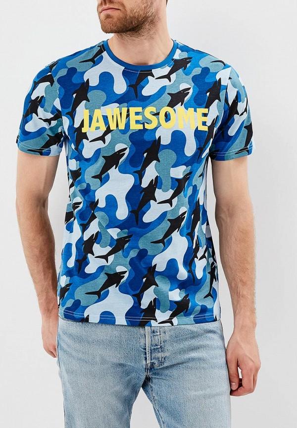 мужская футболка с коротким рукавом modis, синяя