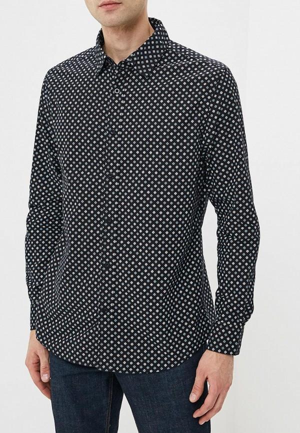 мужская рубашка с длинным рукавом modis, черная