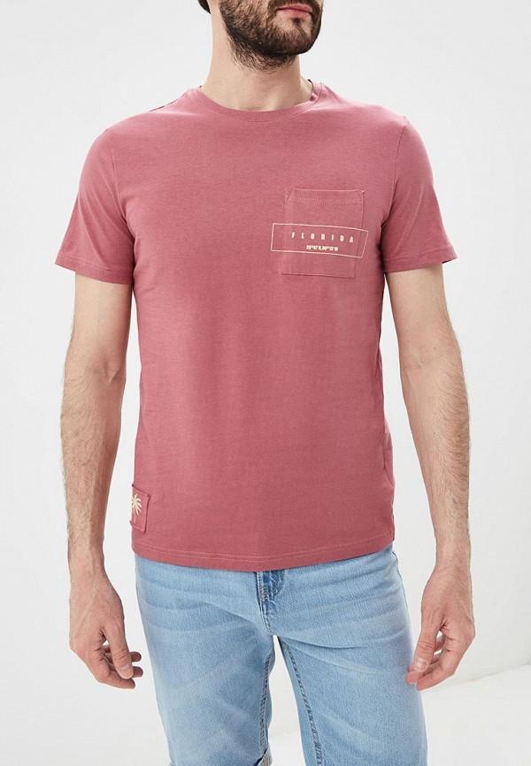 мужская футболка с коротким рукавом modis, розовая