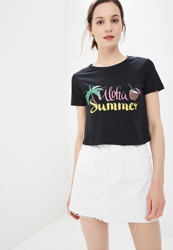 женская футболка с коротким рукавом modis, черная