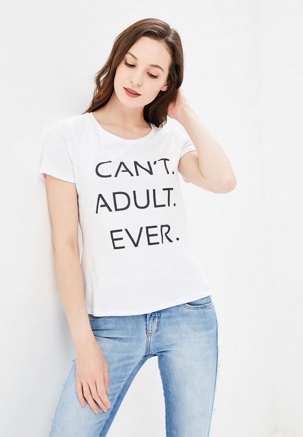 женская футболка с коротким рукавом modis, белая
