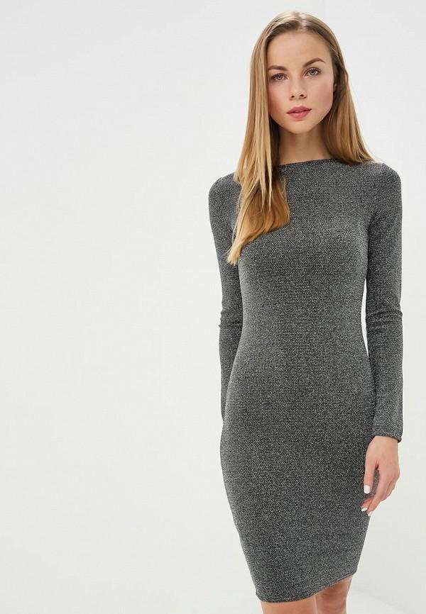 женское платье-футляр modis, серебряное