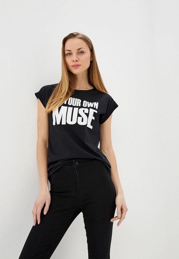 женская футболка modis, черная