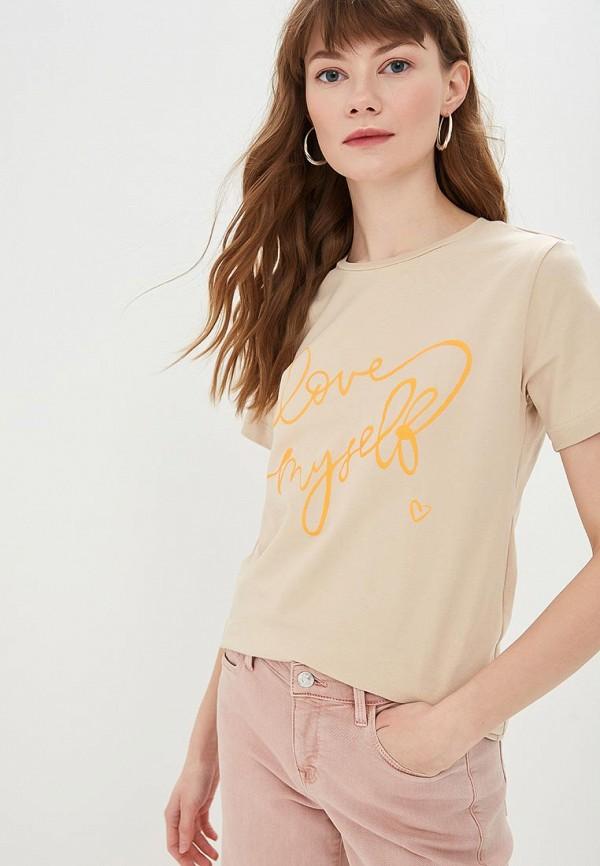 женская футболка modis, бежевая