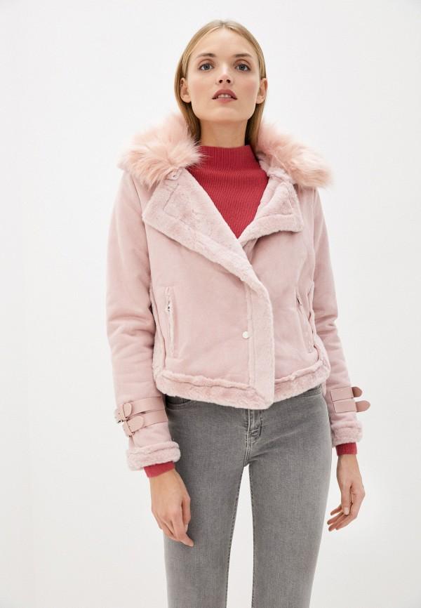 женская дубленка modelle, розовая