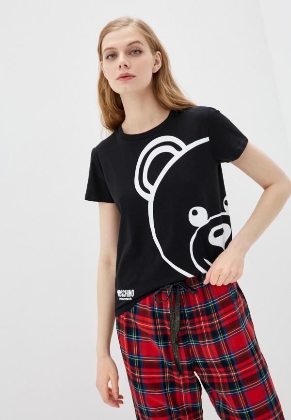 женская футболка moschino underwear, черная