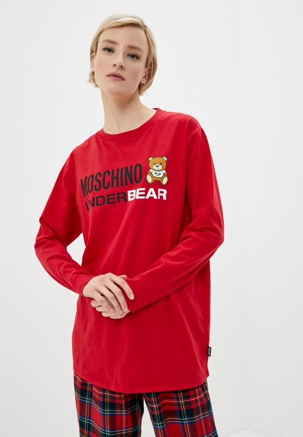 женский лонгслив moschino underwear, красный