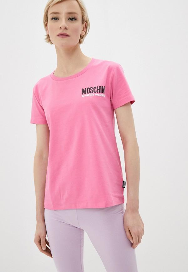 женская футболка moschino underwear, розовая