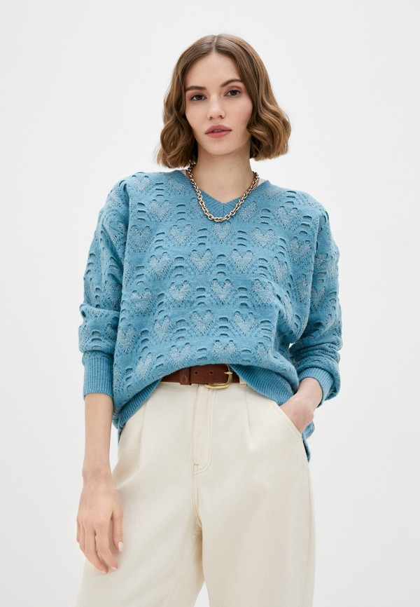 женский пуловер moocci, бирюзовый