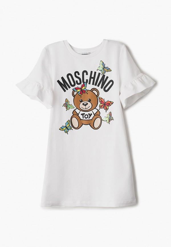 повседневные платье moschino kid для девочки, белое