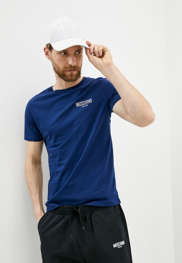 мужская футболка moschino swim, синяя