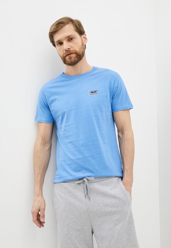 мужская футболка moschino swim, голубая