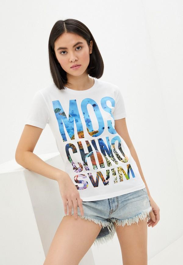 женская футболка moschino swim, белая