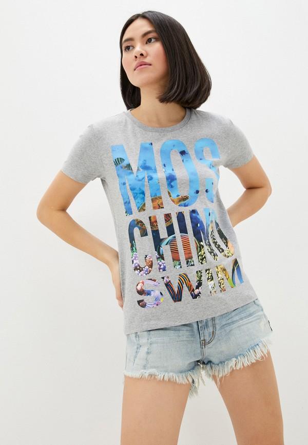 женская футболка moschino swim, серая