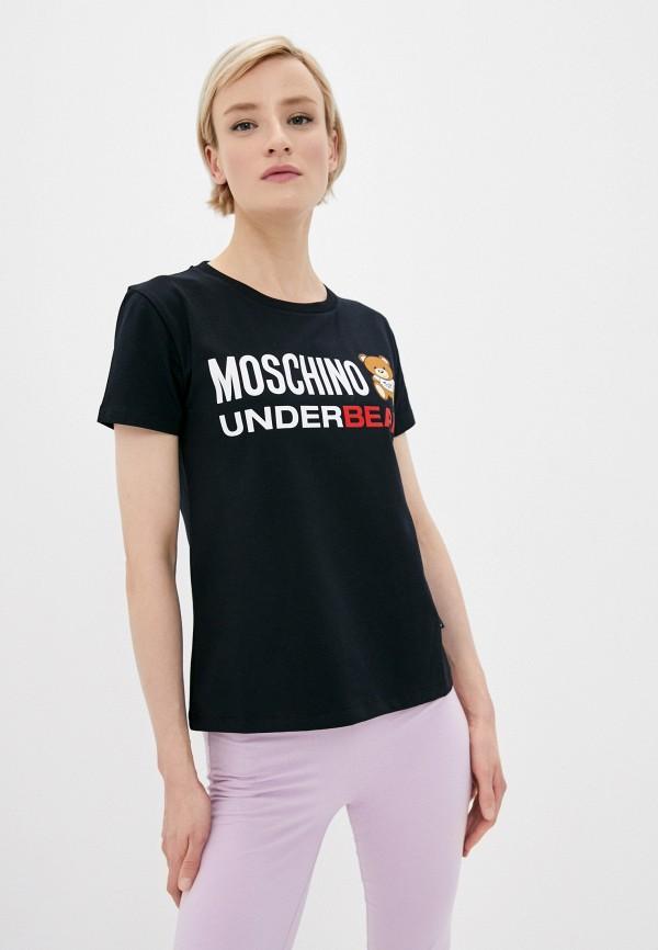 женская футболка moschino swim, черная