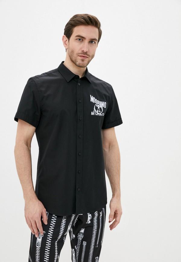 мужская рубашка с коротким рукавом moschino couture, черная