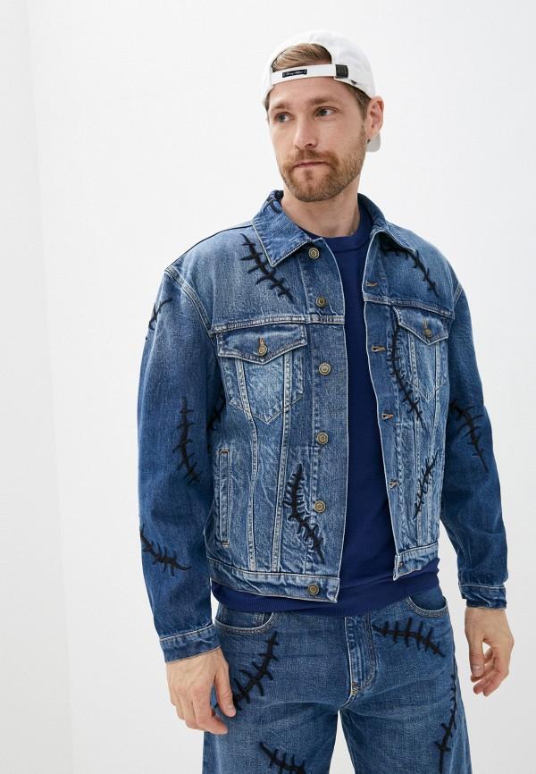 мужская джинсовые куртка moschino couture, синяя