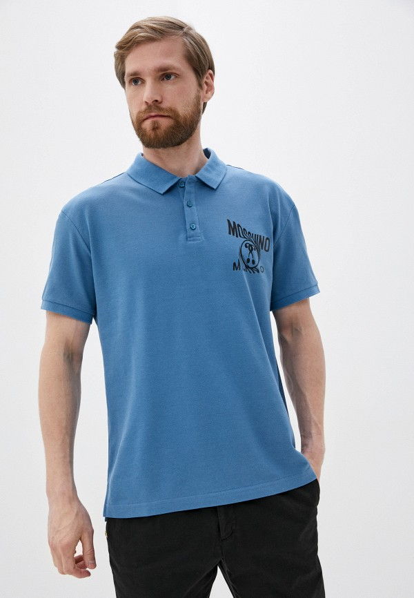 мужское поло moschino couture, синее