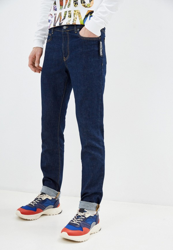 мужские зауженные джинсы moschino couture, синие