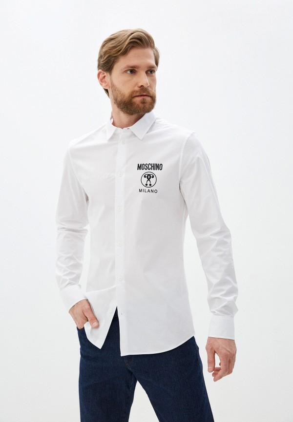мужская рубашка с длинным рукавом moschino couture, белая