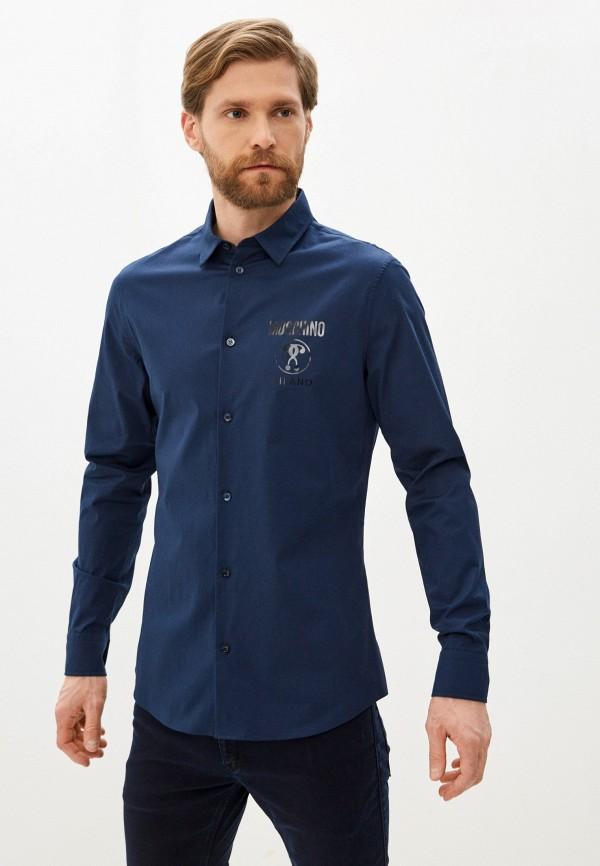 мужская рубашка с длинным рукавом moschino couture, синяя