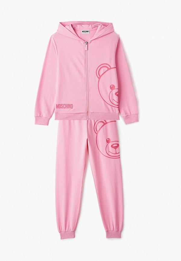 спортивный костюм moschino kid для девочки, розовый