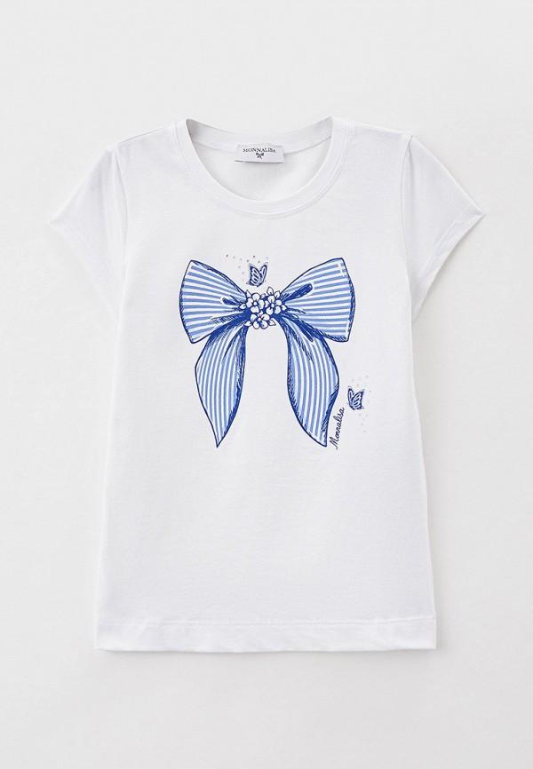 футболка с коротким рукавом monnalisa для девочки, белая