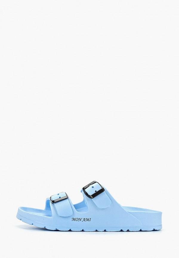 женские сланцы mon ami, голубые