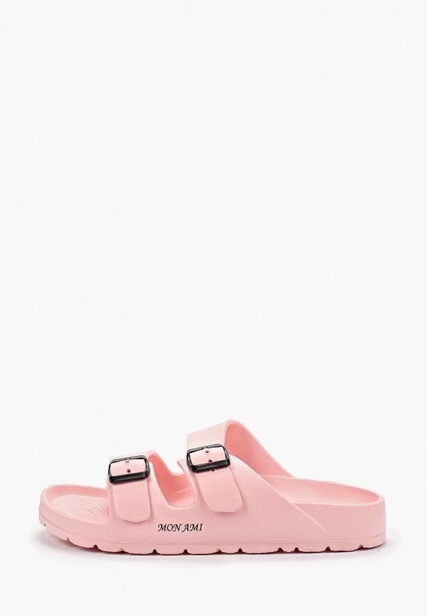 женские сланцы mon ami, розовые