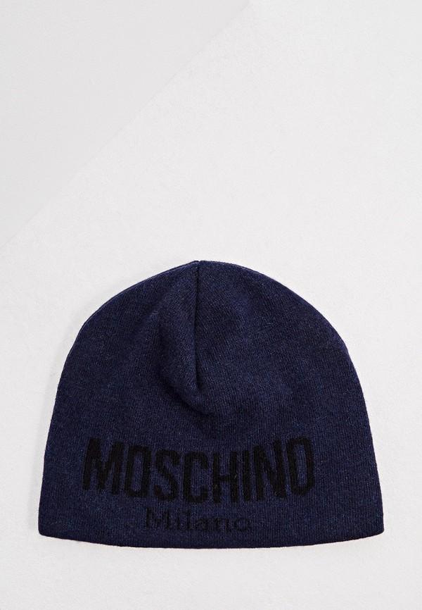 мужская шапка moschino, синяя