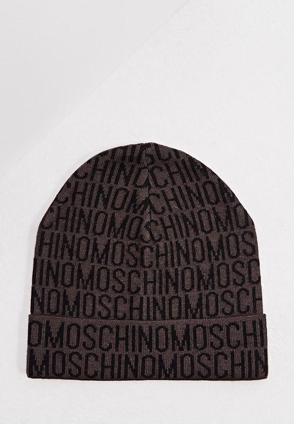 мужская шапка moschino, коричневая