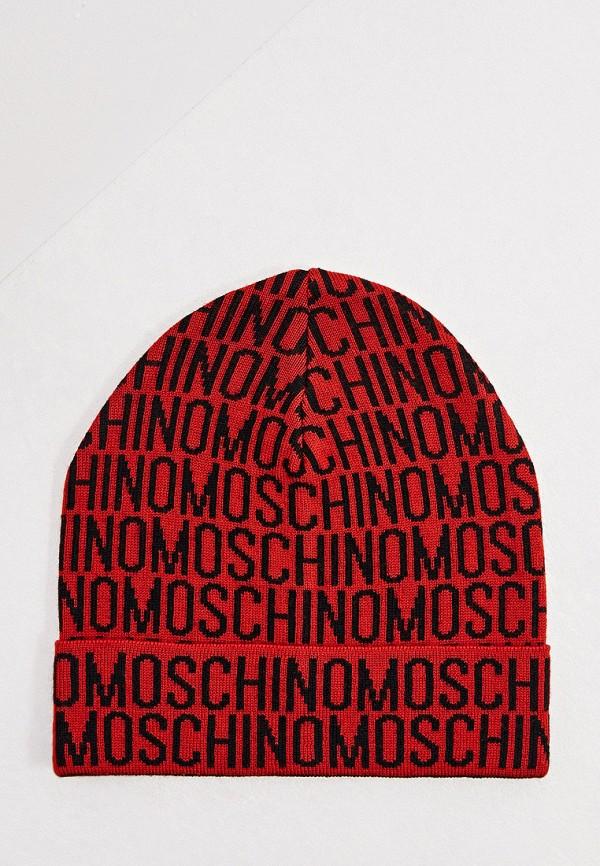 мужская шапка moschino, красная