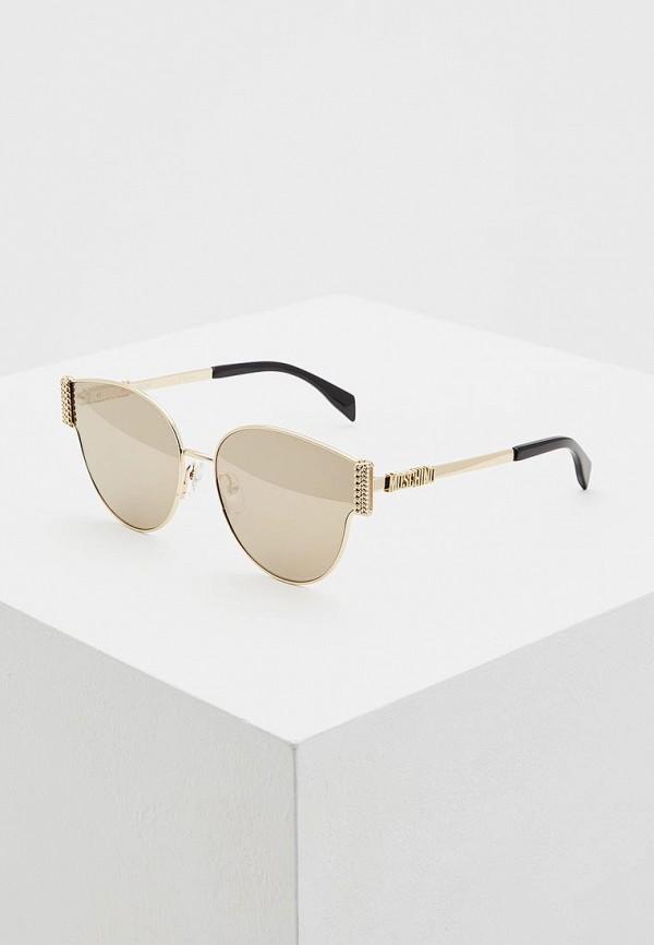 женские солнцезащитные очки кошачьи глаза moschino, золотые