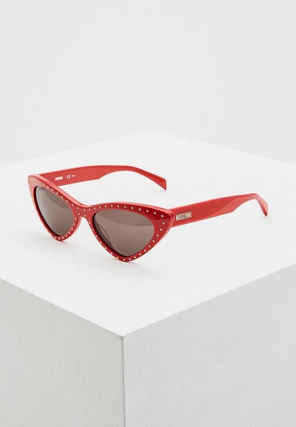 женские солнцезащитные очки moschino, красные