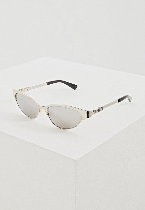 женские солнцезащитные очки moschino, серебряные