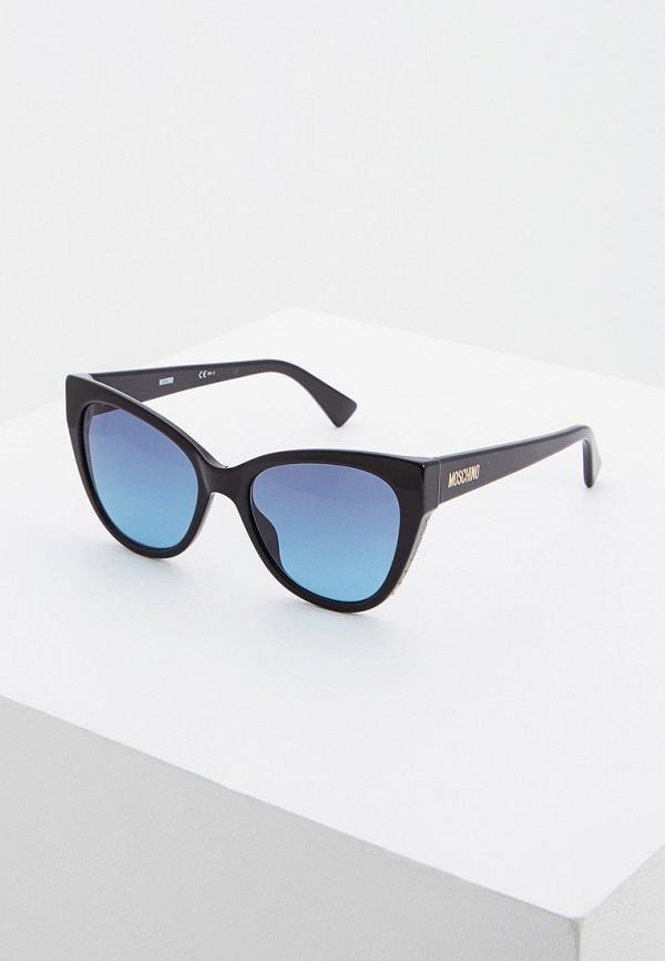 женские солнцезащитные очки кошачьи глаза moschino, черные