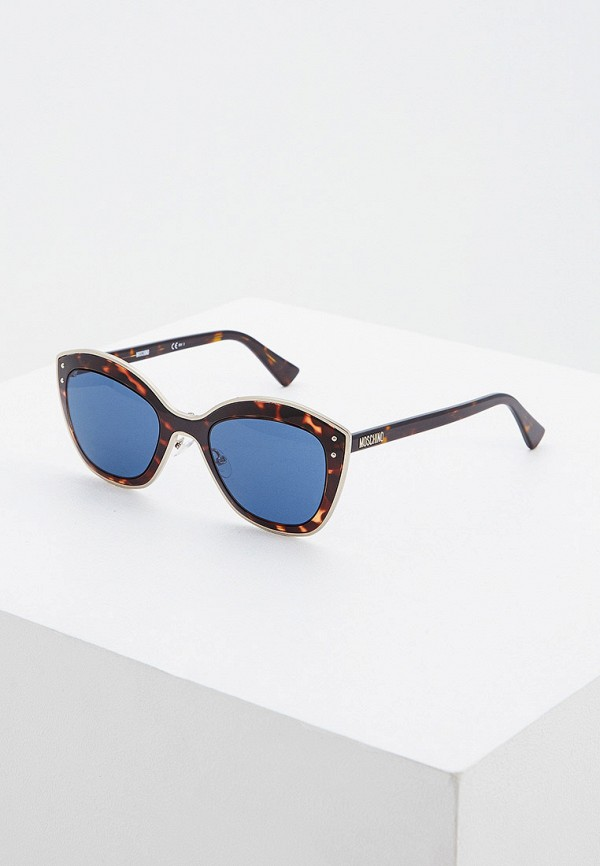 женские солнцезащитные очки кошачьи глаза moschino, коричневые