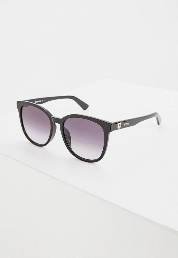 женские круглые солнцезащитные очки moschino, черные