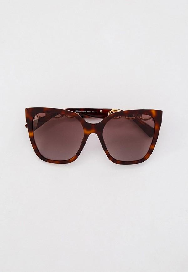 женские квадратные солнцезащитные очки moschino, коричневые