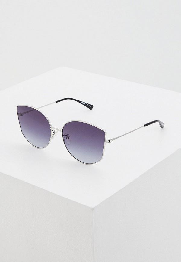 женские солнцезащитные очки кошачьи глаза moschino, серебряные