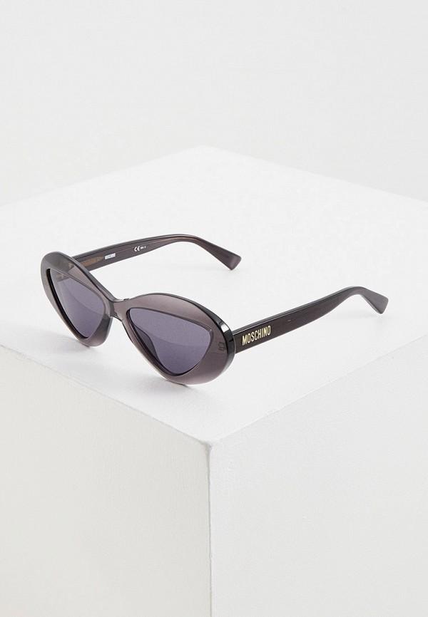 женские круглые солнцезащитные очки moschino, серые
