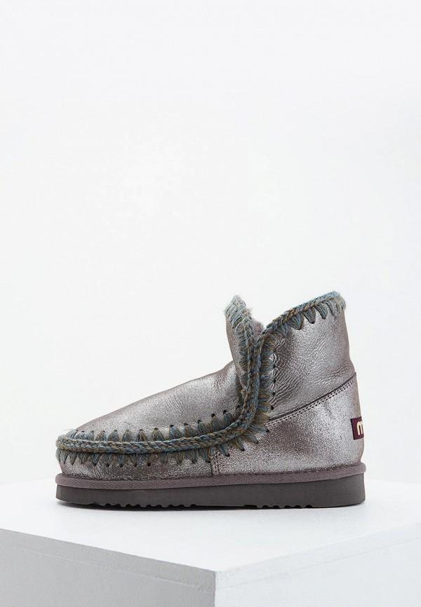 женские ботинки mou, серебряные