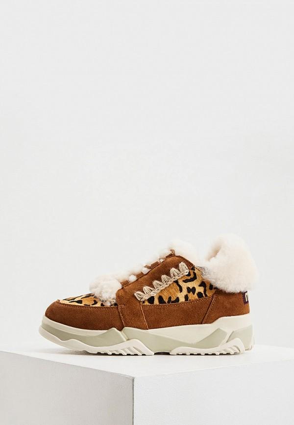 женские кроссовки mou, коричневые